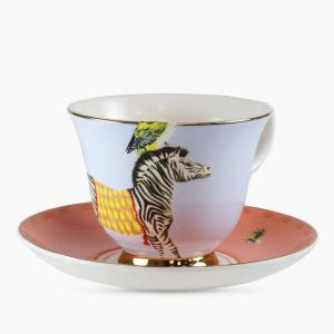 Yvonne Ellen Cup & Saucer Carnival Zebra